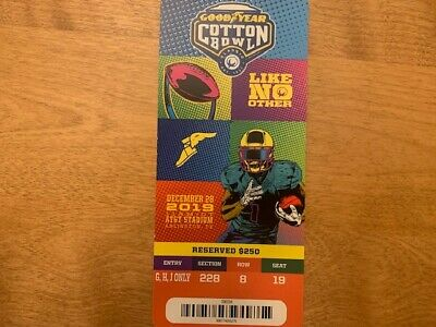 2019 Cotton Bowl Souvenir Ticket Stub Mint Condition