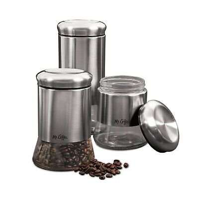 3-Pc. Stainless Steel Canister Set+Air Tight Seal Home Kitchen Storage Organizer