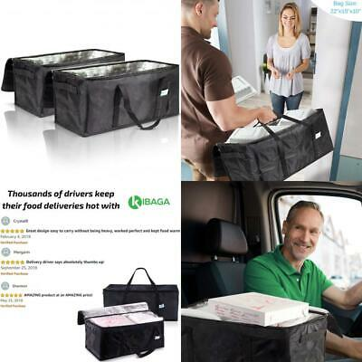 """Commercial Insulated Food Delivery Bags - 22"""" x 10"""" x Waterproof black"""