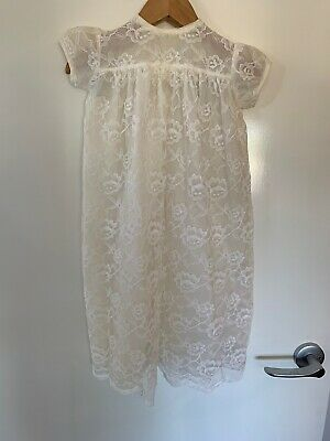 Cream Vintage Lace Baby Or Dolls Dress - Excellent Condition Christening Sz 00