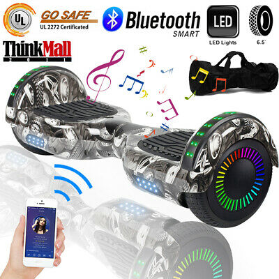 """6.5"""" UL Bluetooth Hoverboard Electric Self Balancing Scooter LED Tire Gray Bag"""