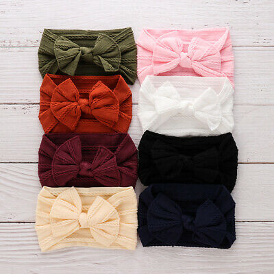 Head Wrap Knotted Turban Baby Nylon Headband Toddler Turban Bow Hairband