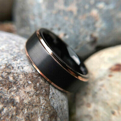 8mm Tungsten Carbide Ring Rose Gold Black Brushed Wedding Ring Mens Band Jewelry