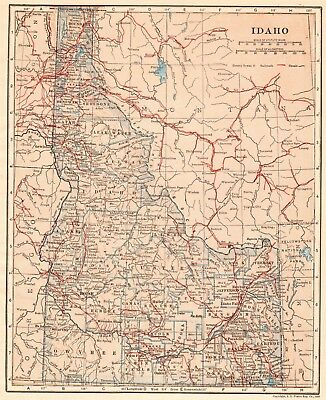 1914 Antique IDAHO Map Vintage State Map of Idaho Wall Art Birthday Gift  5644