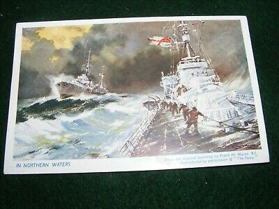 "Vintage Postcard Art Frank Mason Royal Navy Ships ""Northern Waters"""
