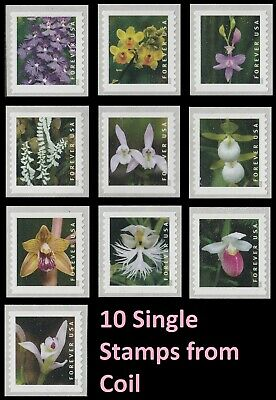 US Wild Orchids forever set (10 coil stamps) MNH 2020