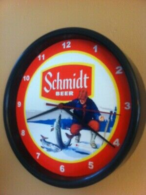 Schmidt Ice Fishing Beer Bar Man Cave Advertising Black Wall Clock Sign