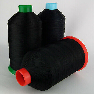 STRONG BONDED NYLON 12 TKT 1,000m BLACK SEWING THREAD LEATHER CRAFT REPAIR 12s
