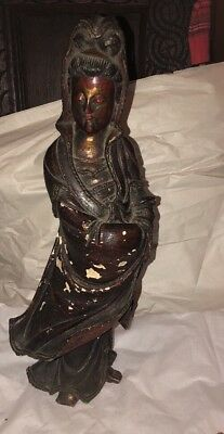 Antique Chinese Guan yin GuanYin Kwan-yin Carved Statue Polychrome 19""
