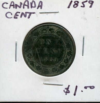 1859 Canada Large Cent Canadian Coin FM430