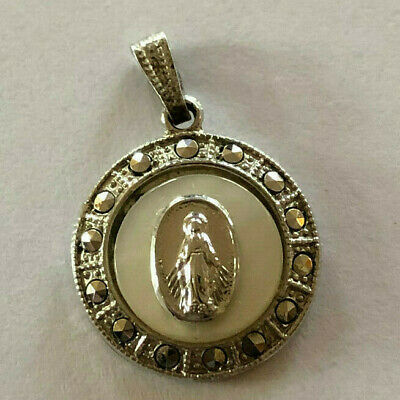 Vintage Catholic Religious Medal PETITE STERLING MARCASITE PEARL Miraculous