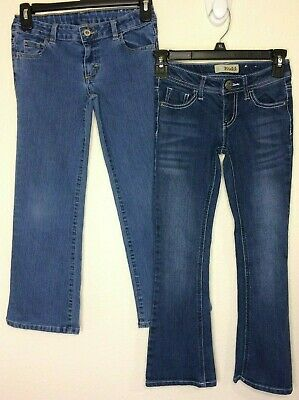 LOT of 2 Girls Blue Stretch Denim Bootcut Jeans-Mudd & Faded Glory (Size 7)