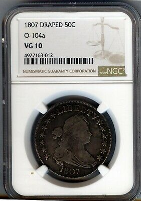 1807 DRAPED BUST SILVER 50c  CHOICE VG/FINE = NGC VG10 - O-104a  LOOKS BETTER !