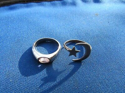 Vintage Sterling Silver 2 Rings, Pink Sapphire & Stylized Star And Moon Rings