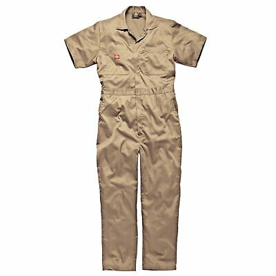 """Dickies Short Sleeved Cotton Coverall, Size L (44-46"""") in Khaki"""