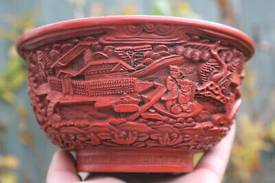 Chinese Wooden Lacquer Red Gilt Black Painted Carved Bowl