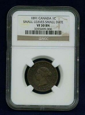 Canada Victoria 1891 Large Cent Certified Ngc Vf30-Bn