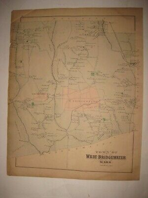 Antique 1879 West Bridgewater Plymouth County Massachusetts Handcolored Map Rare