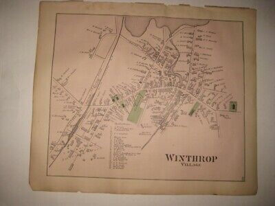 Antique 1879 Winthrop Village Kennebec County Maine Handcolored Map Superb Rare