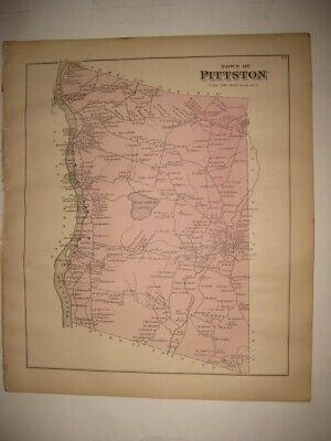 Antique 1879 Pittston Kennebec County Maine Handcolored Map Detailed Fine Nr