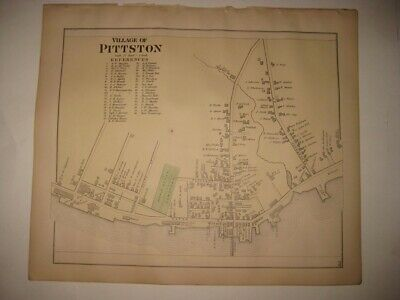 Antique 1879 Pittston Village Kennebec County Maine Handcolored Map Superb Rare