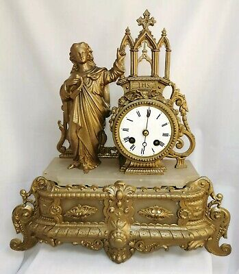 Large french ormolu mantel clock chruch religious gold metal and stone