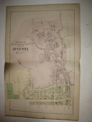 Antique 1879 Augusta Ward 2 & 3 Kennebec County Maine Handcolored Map Detailed