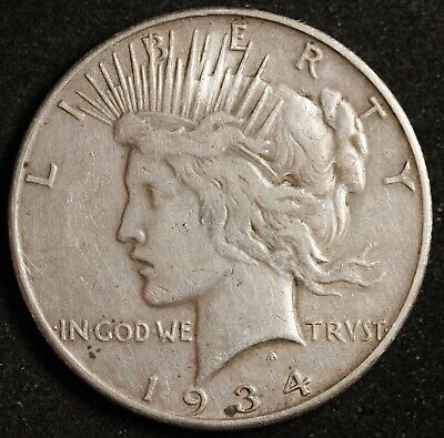 1934-s Peace Silver Dollar. Error.  CUD Reverse @ 7:00 by Mint Mark.  VF 143658