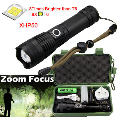 Super Bright 900000Lumens XHP50 Zoom Flashlight LED Rechargeable Torch Headlamp