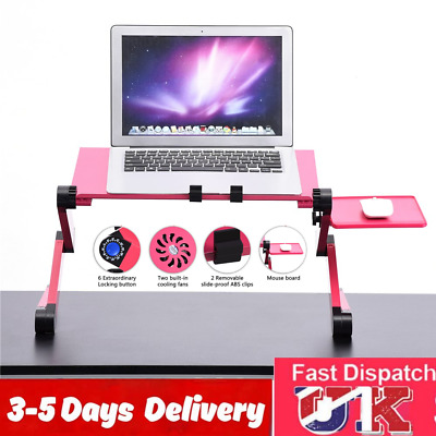 17in Laptop Table Stand Folding Desk Bed Study Adjustable Portable Sofa Tray Red