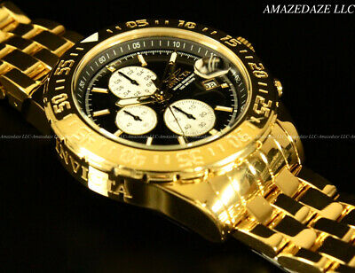 NEW Invicta Men 18K Gold Plated Stainless St. Black Dial Chrono Aviator Watch