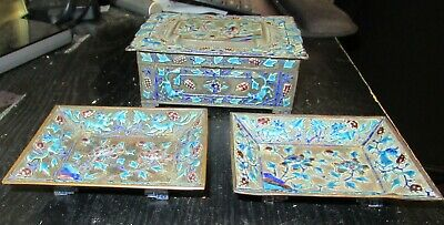 Old Chinese Repousse Cloisonne Enamel Two Ash Trays And Humidor Jar Box