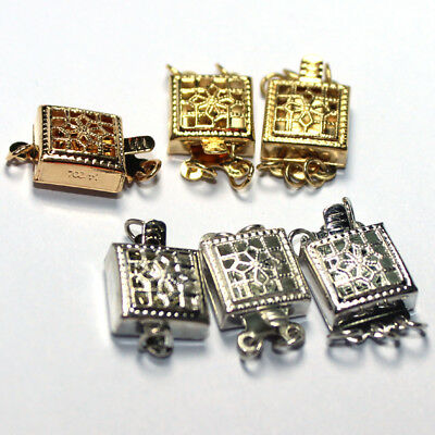 10pcs DIY Jewelry Making 14K gold Plated Flower Square Cube Box Clasps 9x9mm