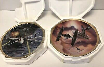 2 Star Wars TIE Fighter X-Wing Space Vehicles Plates Hamilton Collection 1995