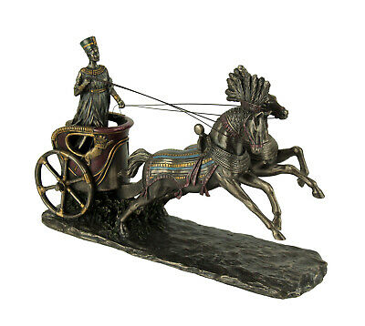 Nefertiti Egyptian Queen Driving Horse Drawn Chariot Statue