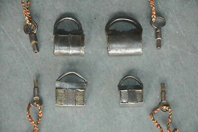 4 Pc Old Iron Handcrafted Different Small Screw System Padlocks