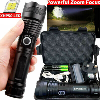 Rechargeable 900000 lumens XHP50 Powerful LED Flashlight Zoom Torch Headlight UK