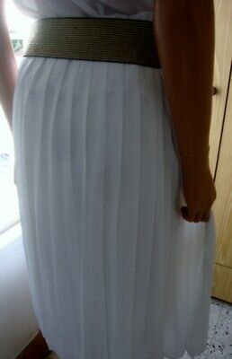 Vintage Sheer White Governess / Secretary Pleated Elasticated Waist Skirt 16