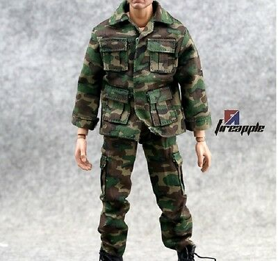 "1//6 soldiers trend camouflage,snow hooded camouflage top+pants 12/"" action figure"