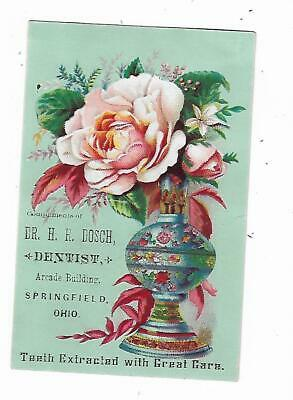 Old Dental Trade Card Dr HR Dosch Dentist Springfield Ohio Teeth Extracted Care