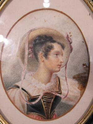 ANTIQUE MNIATURE EUROPEAN WATERCOLOR PORTRAIT PAINTING of YOUNG WOMAN