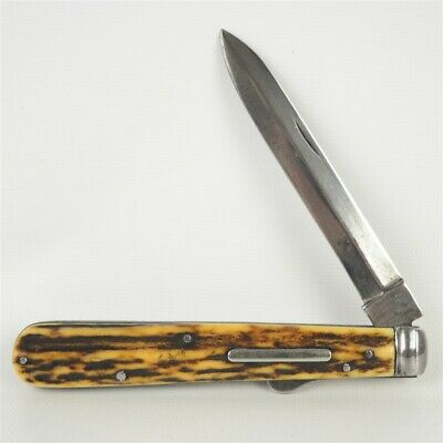 "Antique Mid 19th Century C.J. Johnson 9.25"" Folding Knife Sheffield Stag Horn"