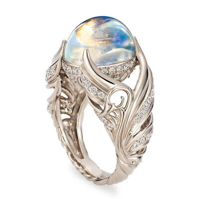 Elegant 925 Silver Moonstone Ring Women Wedding Party Jewelry Gift Size 5-10