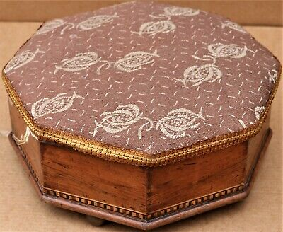 Wonderful Old Wooden Inlaid Octagonal Foot Stool With Lift Up Lid To Tidy Up