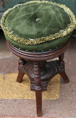 Old Round Wooden Adjustable Swivel Piano Type Stool To Restore