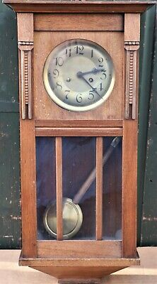 Old Large Wooden Cased Wall Clock With Glass Panels To Front For Spares Repair