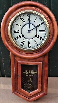 Nice Looking Large Wooden Wall Clock With Key And Pendulum