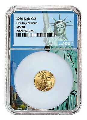 2020 $5 American Gold Eagle NGC MS70 First Day Statue Liberty Core