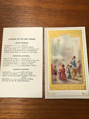 Vintage Catholic Holy Card - Our Lady of Fatima and the mysteries of the rosary