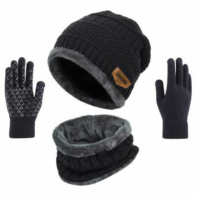 KEESON 3 Pieces Winter Beanie Hat Scarf Touch Screen Gloves Knitted Cap Set Unisex for Men Women
